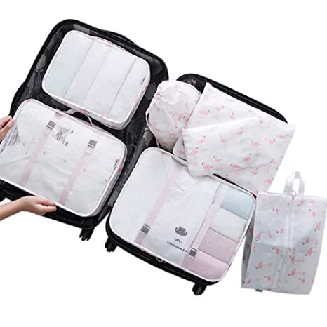 70f90638c5f1 Belsmi 7 Set Packing Cubes Travel Bags with Shoe Bag - Compression Travel  Luggage Organizer (Fire Flamingo)
