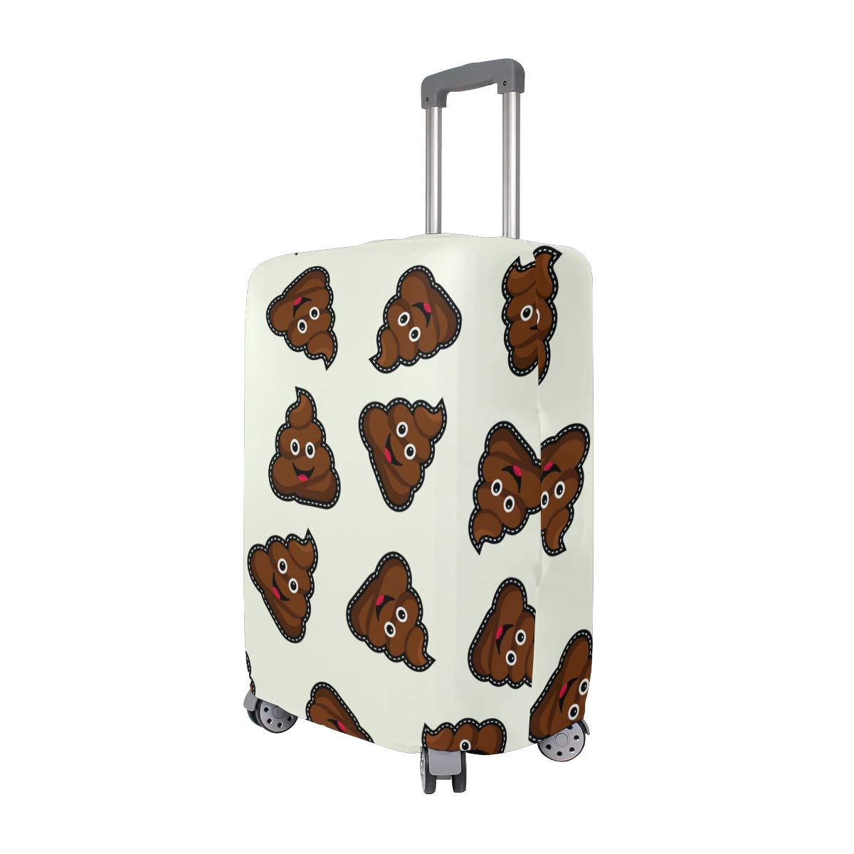 Baggage Covers Dark Brown Poop Cartoon Pattern Washable Protective Case