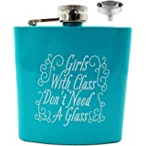 Liquor Flask Matte Funny Leakproof - Premium Stainless Steel Hip Flask 8oz (Blue 6oz girls with class)