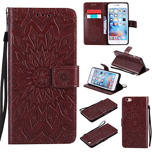 Price comparison product image iPhone 6S Plus Wallet Case,A-slim(TM) Sun Pattern Embossed PU Leather Magnetic Flip Cover Card Holders & Hand Strap Wallet Purse Case for iPhone 6 Plus / 6S Plus [5.5 Inch] - Brown