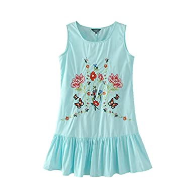 GBBTR sweet ruffles floral embroidery pleated dress sleeveless o neck ladies summer casual brand mini dresses