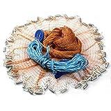GZQ Fishing Net Hand Throw Nylon Mesh Net with Hand String And Heavy Ring (3 m / 9.8 ft)
