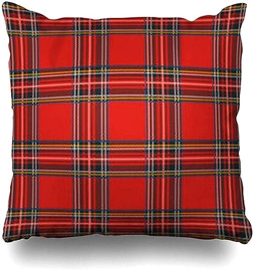 fingww Funda de cojín Escocia Rojo Falda Escocesa Tartán Patrón de ...