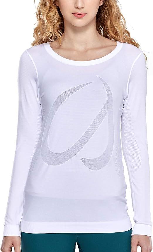 CRZ YOGA Mujer Ropa Deportiva Sports Casuales Camiseta Malla sin Costura Manga Larga