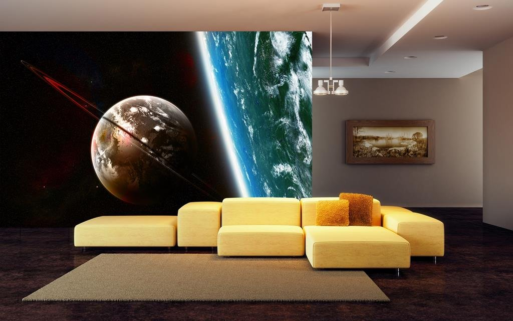 999Store 2D Printed Planets Leather Wallpaper Wall murals for Living Room (Covers Approx 180 Sqft)