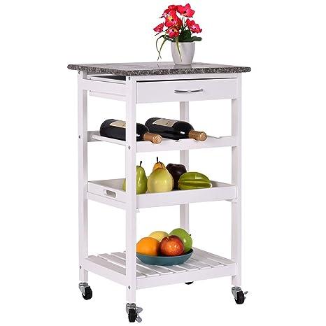 Amazon.com: Giantex Carro de cocina de 4 niveles con ruedas ...