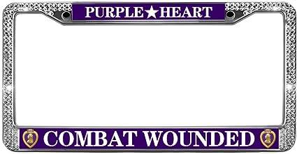 U.S MILITARY COMBAT WOUNDED VETERAN METAL LICENSE PLATE FRAME PURPLE HEART