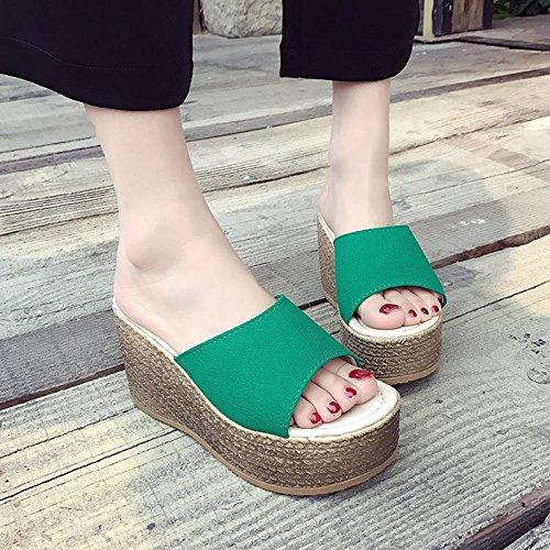Sandales Chaussures Basse Étanche Lvyuan Confortables Plage Green Compensé Talon D'été Plateforme Épaisse Pour Pantoufles De Femmes Haut Décontractées 6qpg6