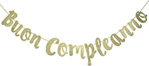 Buon Compleanno Banner, Italian Happy Birthday Sign Garland Party Decorations Anniversary Decor Photo Booth Props Gold