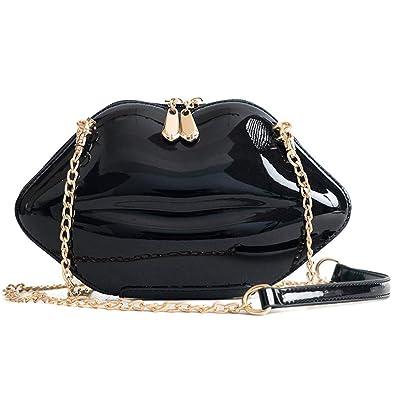 f67f44470dcd Women Leather Lips-shaped Evening Clutch Purses Crossbody Bags Vintage  Banquet Handbag (Black)