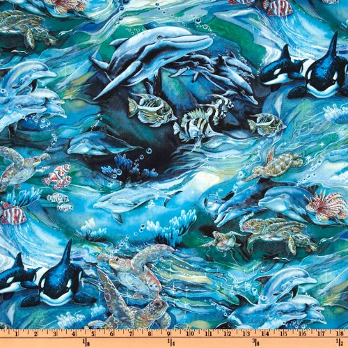 North american wildlife swimming fish ocean fabric by the for Fish fabric by the yard