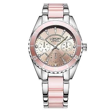 ALXDR Relojes Blancos Y Rosados para Mujer, Reloj De Correa De Aleación Y Cerámica, Relojes De Pulsera Impermeables, Reloj De Moda para Dama,Pink: ...