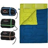 Saco de Dormir Portátil para 2 Personas Bolsa de Dormir de 4 Estaciones con Almohada para Camping…
