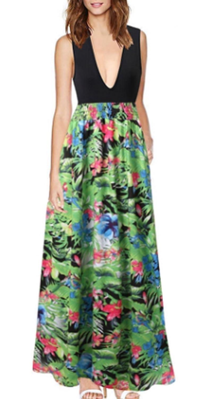 CRAVOG Sexy Damen Partykleid Abendkleid Maxikleid Sommer Blumen Lange Kleid