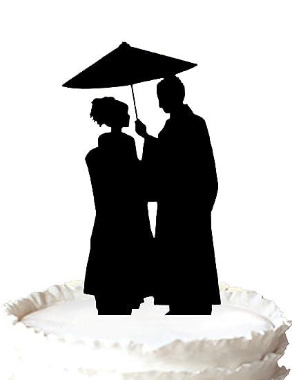 Kaishihui Wedding Cake Topper Japanese Couple Under Umbrella