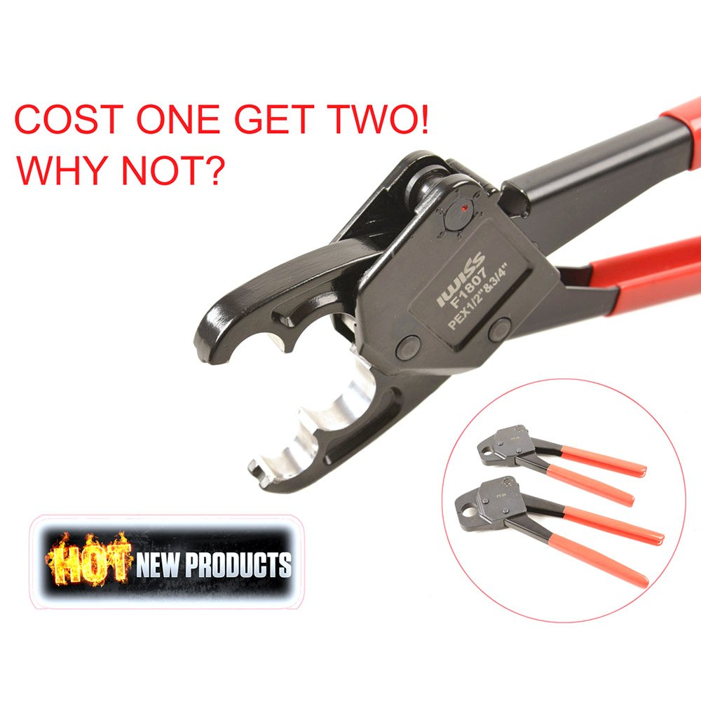 IWISS Combo Angle Head PEX Pipe Crimping Tool Kits for 1/2 & 3/4 Pex