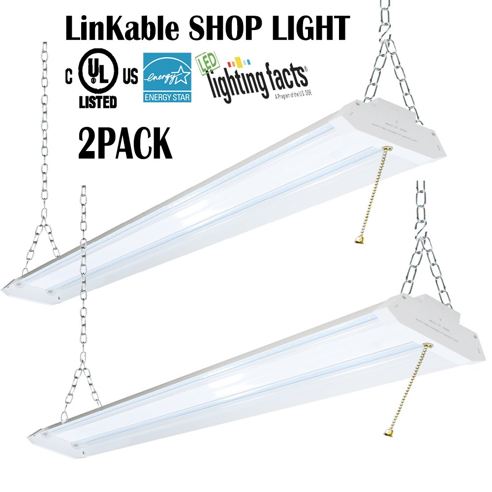 OOOLED Linkable LED Shop light,4FT(2pk.), Aluminum Housing, 42W 4500LM 5000K Coollight White, With Pull Chain (ON/OFF),Linear Worklight Fixture with Plug,Energy Star UL Listed (5000K Daylight)2pk