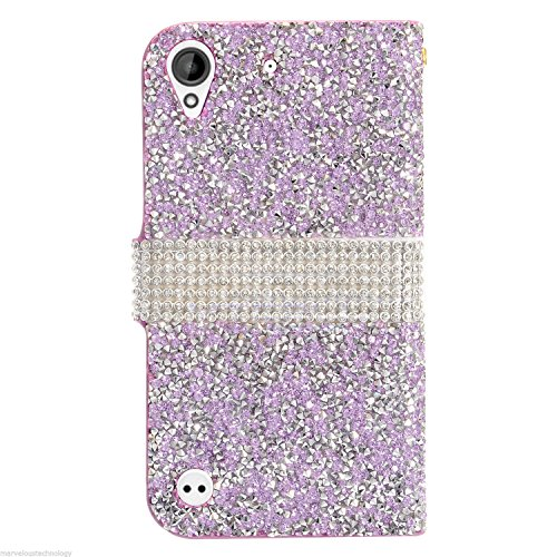 HTC Desire 530/626s Luxury Jewelry Bling Diamond Crystal Flip Wallet Case (Purple) Desire Jewelry