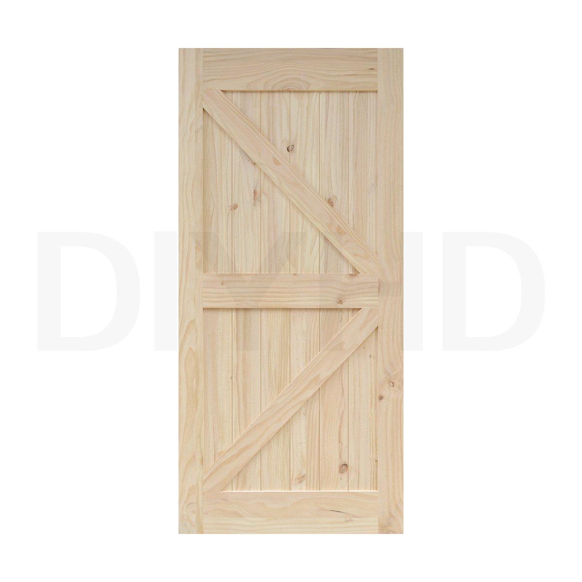 38 in84 in Pine Knotty Sliding Barn Wood Door Slab Two-side Arrow Shape Barn Door Slab (Unfinished)