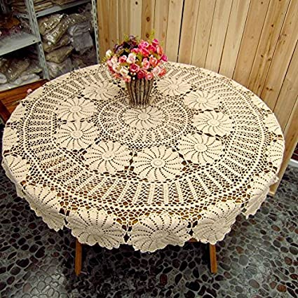 Amazon Ustide Round Tablecloth Hand Crochet Beige Table Cloth Handmade For Dining Room Durable Cotton Decoration Christmas