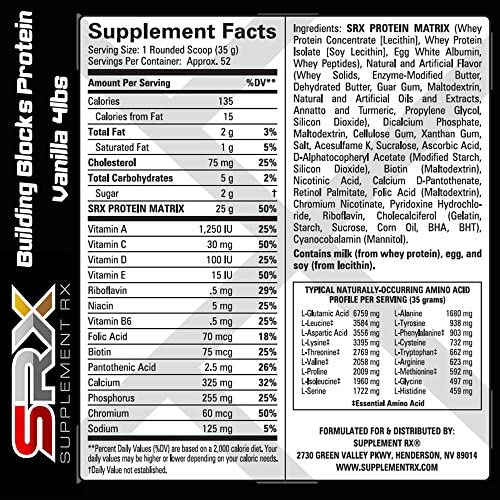 Supplement Rx SRX – Building Blocks Protein Creamy Vanilla 4lbs, Whey Protein Concentrate, Whey Protein Isolate, Egg White Protein Powder, Weight Loss, Gluten Free, BCAA, L-Arginine, Protein Shake