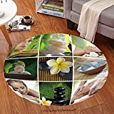 Sophiehome Soft Carpet 86259487 Spa theme photo collage composed of different images Anti-skid Carpet Round 34 inches