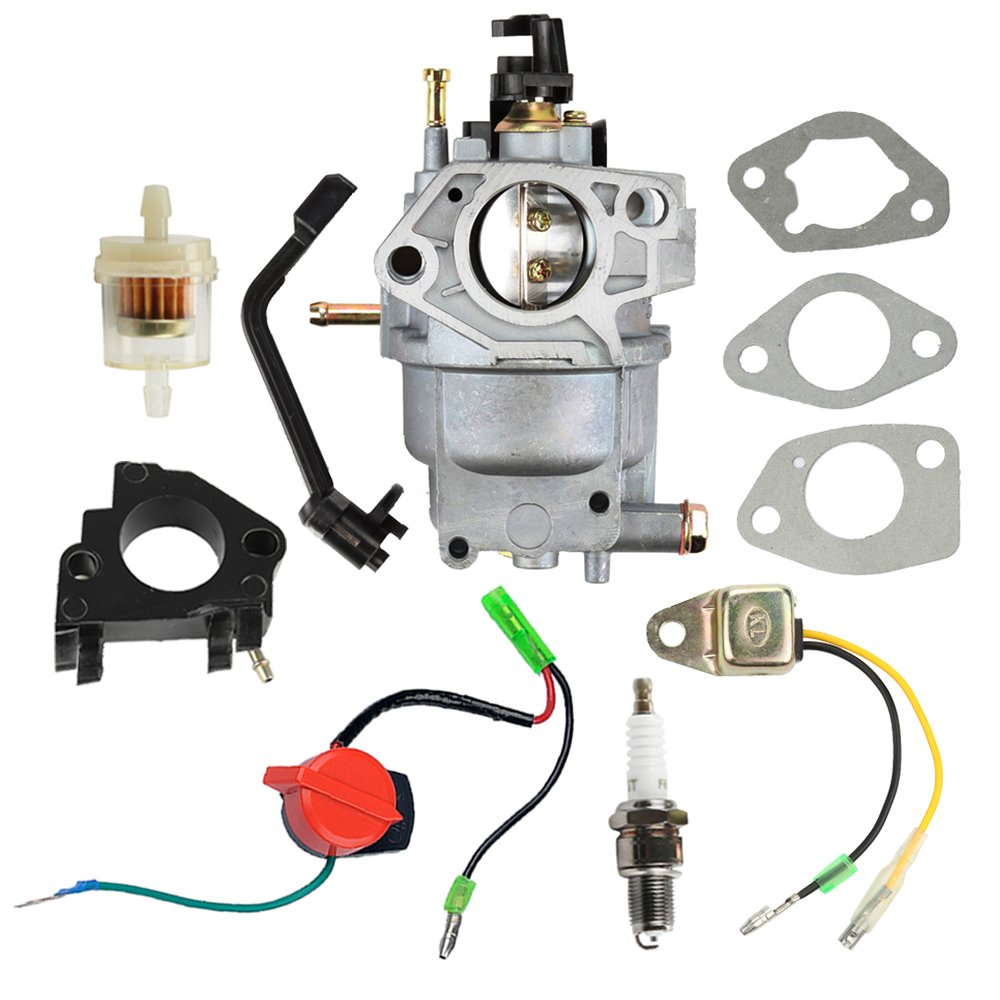 Panari 0J2451 Carburetor + Air Filter Spark Plug for Generac 5000 5500 6000 6500 Watt 389cc Portable Gasoline Generator 5KW 5.5KW 6KW 6.5KW