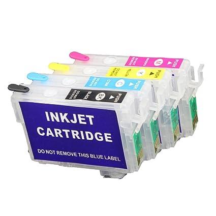 uniprint 4pcs 126 cartucho de tinta recargable para Epson trabajo ...