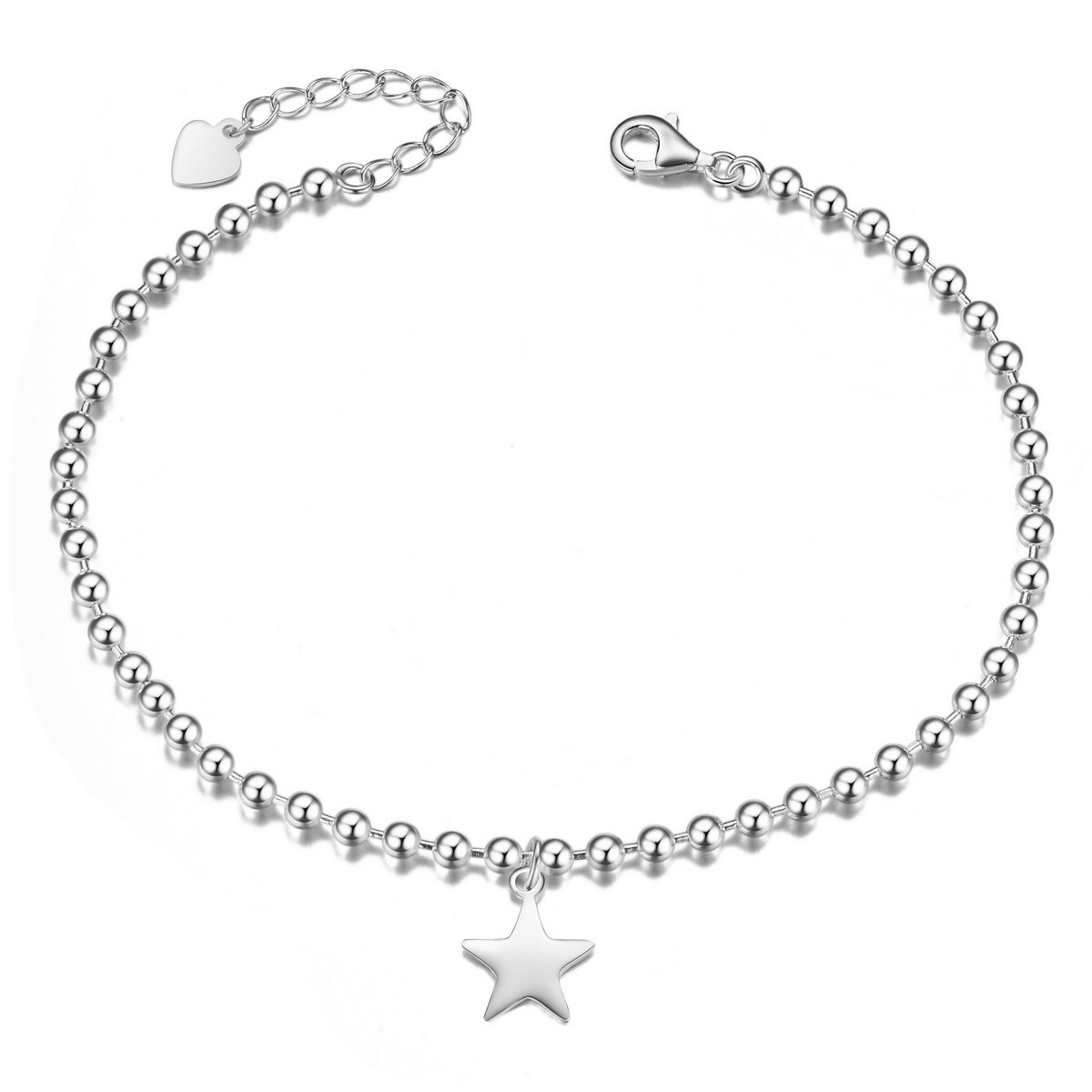 SHEGRACE 925 Sterling Silver Anklet Bracelet with Small Beads and Star Dangle Platinum 230mm JA72A