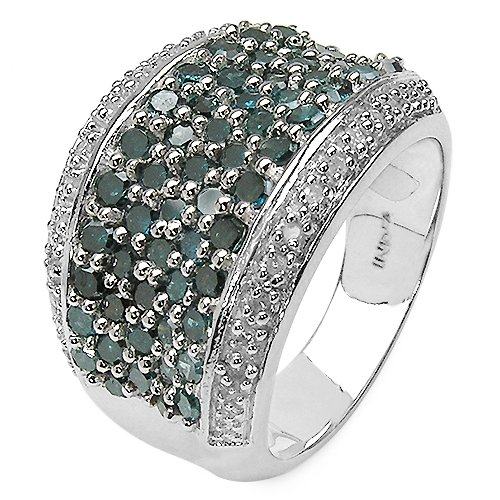 14K Endicron 1.78 Carat Genuine Blue Diamond and 0.17 ct. t.w. Genuine White Diamond Accents Sterling Silver Ring