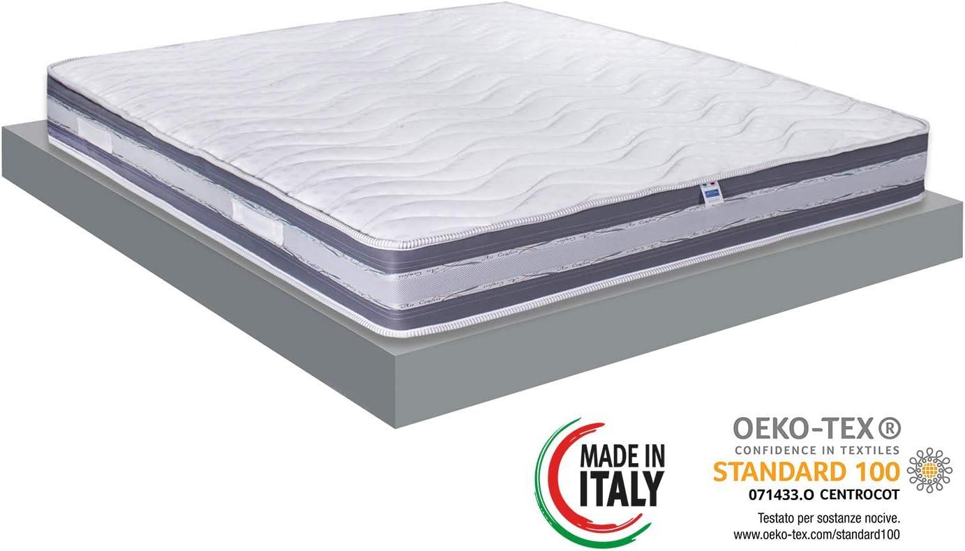 Materassimemory.eu Materasso Matrimoniale, Molle insacchettate indipendenti e Memory, Modello Italo, 140 x 190 x 26 cm, Rivestimento 3D Air, 100% Made in Italy