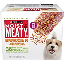 Purina Moist & Meaty Dog Food, Burger With Cheddar Cheese Flavor, 216-Ounce Box, Pack of 1
