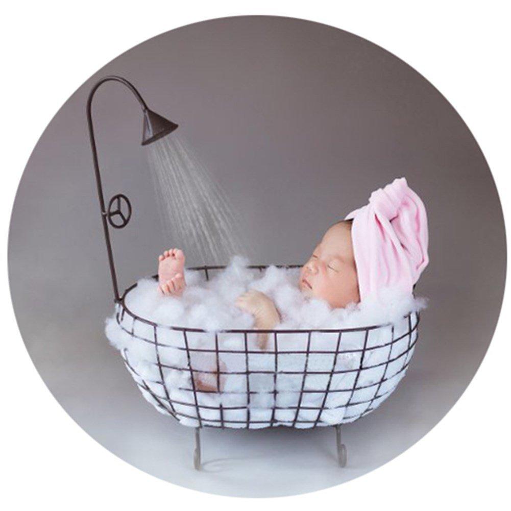 Baby Photography Props Basket Newborn Photo Shoot Posing Prop Monthly Bathtub (Black)
