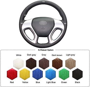 Black Leather Steering Wheel Cover for Hyundai ix35 Tucson 2 2011-2015 #0612