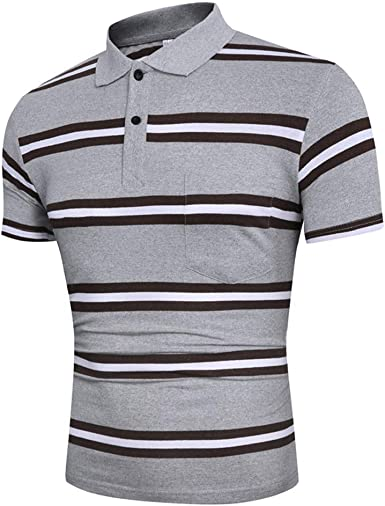 SELX Men Turn-Down Collar Slim Fit Summer Short Sleeve Striped Polo Shirt