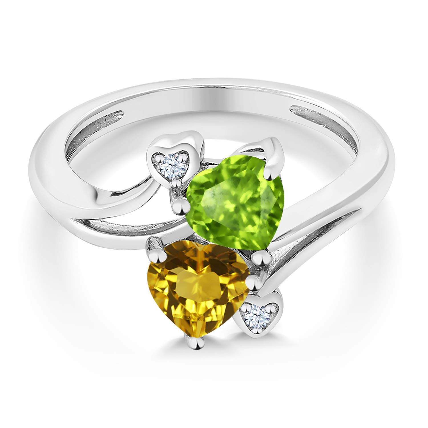 Gem Stone King 1.56 Ct Heart Shape Green Peridot Yellow Citrine 925 Sterling Silver Ring Available 5,6,7,8,9