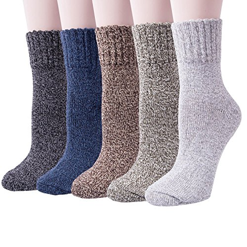 5 Pack Womens Thick Knit Warm Casual Wool Crew Winter Socks (Mix color 1(5pairs))