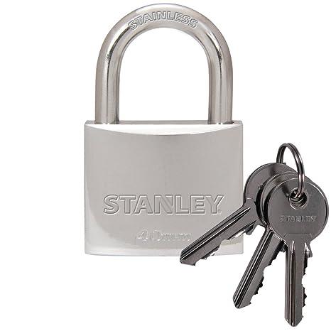 Stanley S742-012 Candado estándar, Cierre con Arco, 3 Llaves, Cromo, 40 mm