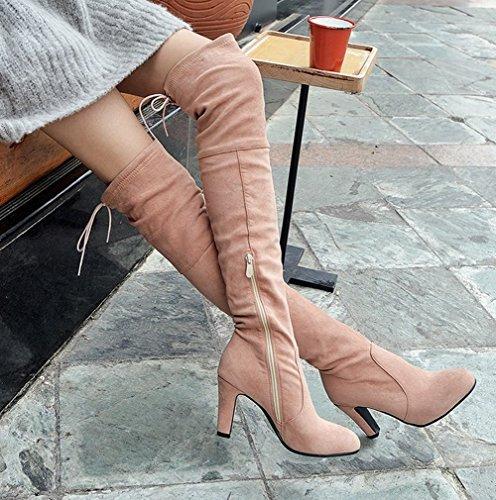 Charme Voet Dames Mode Rits Dikke Hoge Hak Over De Knie Laarzen Roze Abrikoos