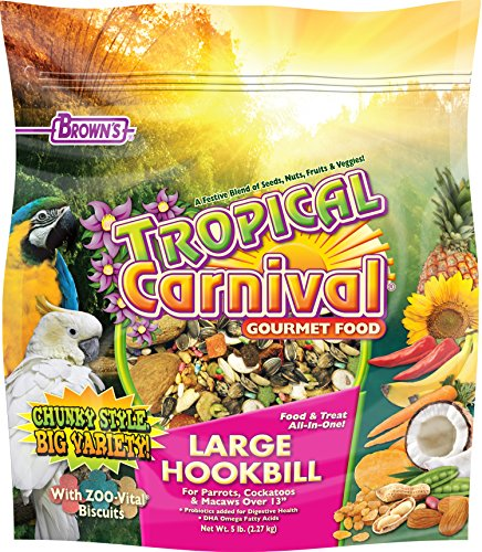 F.M. Brown's Tropical Carnival Gourmet Large Hookbill Food for Parrots, Cockatoos and Macaws Over 13