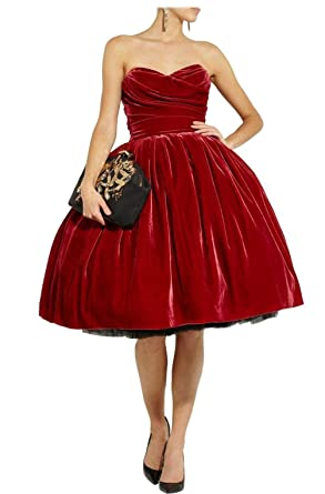 Weddings & Events Realistic Vintage Red Velour Short Cocktail Dresses 2019 Sweetheart A-line Women Informal Cocktail Party Dresses Short Prom Dress Discount 100% High Quality Materials