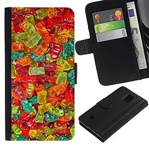 KLONGSHOP / Tirón de la caja Cartera de cuero con ranuras para tarjetas - Candy Sweets Food Colors - Samsung Galaxy S5 Mini, SM-G800, NOT S5 REGULAR!