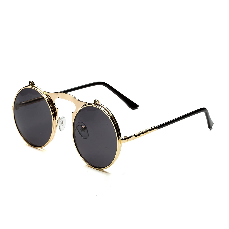 Dollger Steampunk Sunglasses Flip Up Double Lens Vintage Round Designer Sunglasses Mirror Lens DG00411