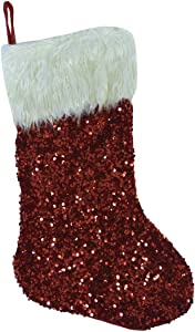 TG,LLC Treasure Gurus Large Hanging Red Sequin Xmas Stocking Furry Christmas Holiday Fireplace Mantle Party Decor