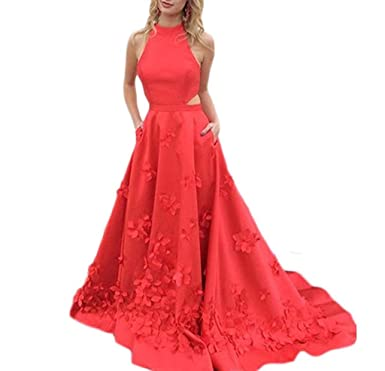 Baijinbai A-Line High Neck Two Pieces Prom Dresses Long Celebrity Red Carpet Gowns Red