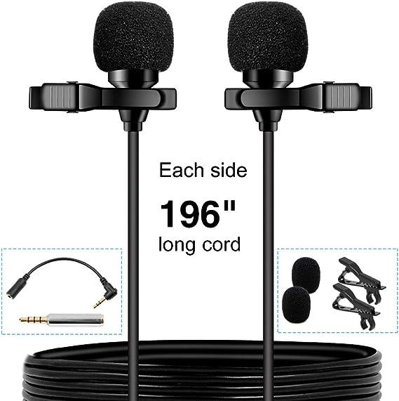 PoP voice Premium 16 Feet Dual-Head Lavalier Microphone