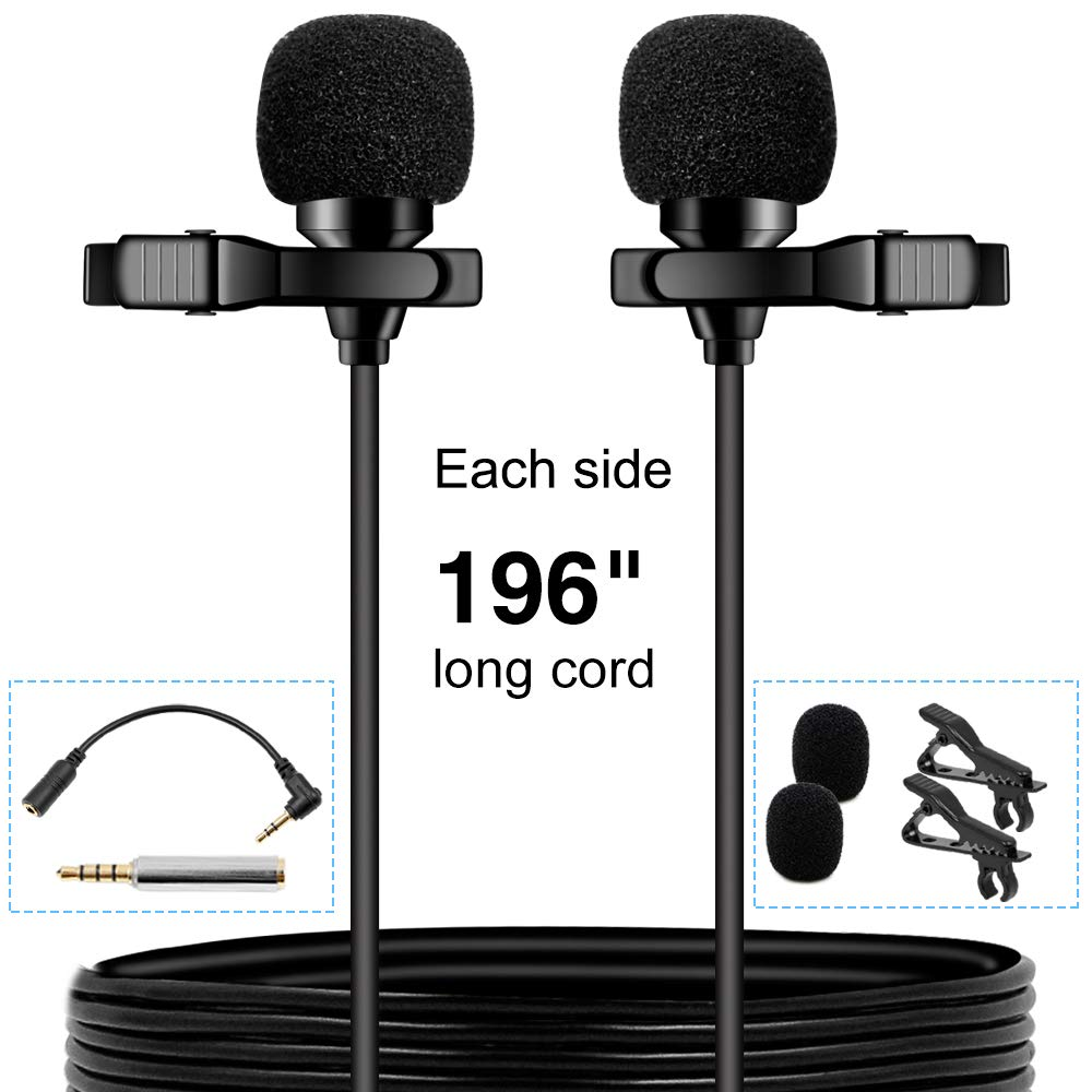 PoP voice Premium 16 Feet Dual-head Lavalier Microphone, Professional Lapel Clip-on Omnidirectional Condenser Mic for Apple iPhone,Android,PC,Recording Youtube,Interview,Video Conference,Podcast by PoP voice