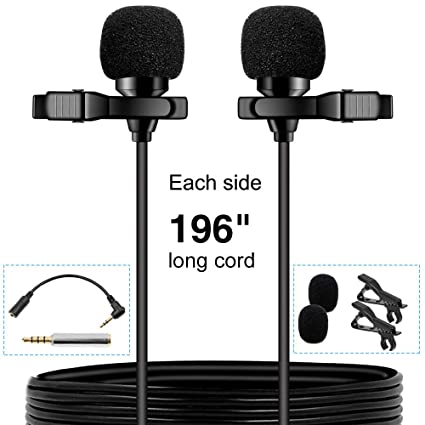 PoP voice Premium 16 Feet Dual-head Lavalier Microphone, Professional Lapel  Clip-on Omnidirectional Condenser Mic for Apple