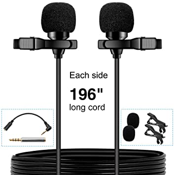 Pop voz Premium 16 pies de doble micrófono lavalier, profesional para Samsung Galaxy S3 MINI