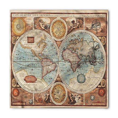 Lunarable Unisex Bandana, Vintage World Map Geography Theme, Blue Redwood]()